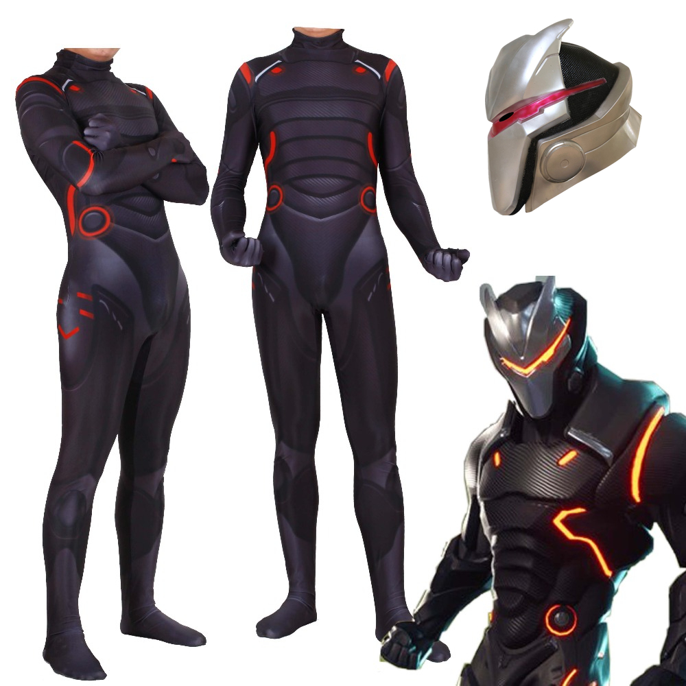 Kid Adult Game Battle Royale Omega Oblivion link Cosplay Costume Zentai Bodysuit Fortniter Suit Jumpsuits Led Mask Halloween