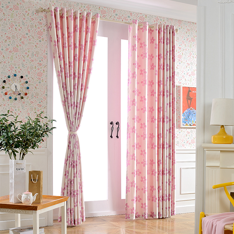 Custom Made Pastoral Floral Blue Pink Blackout Curtains for Living ...