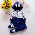 2016 Newest Spring Baby Girls Minnie Suits Korean Casual Kids Cotton Hooded Coat+Pants 2 Pcs Suits Infant/Newborn Clothes Suits