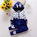 2016 más reciente primavera niñas Minnie trajes de corea casuales de algodón capa encapuchada + Pants 2 unids trajes infantil / recién nacido arropa los juegos