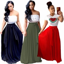 2017 autumn boho womens skirts long casual maxi skirt elastic waist flowy plus size skirts big floor-length bandage skirts