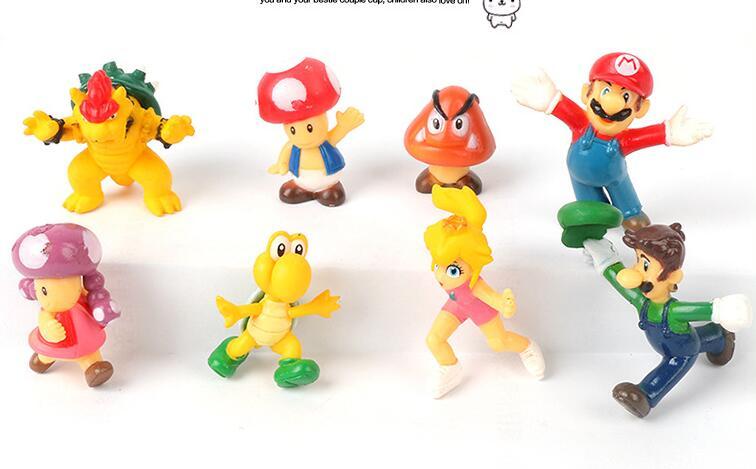 4 или 8 шт./лот Super Mario Bros Марио Йоши Луиджи ПВХ фигурку Коллекционная модель игрушки 3-4,5 см