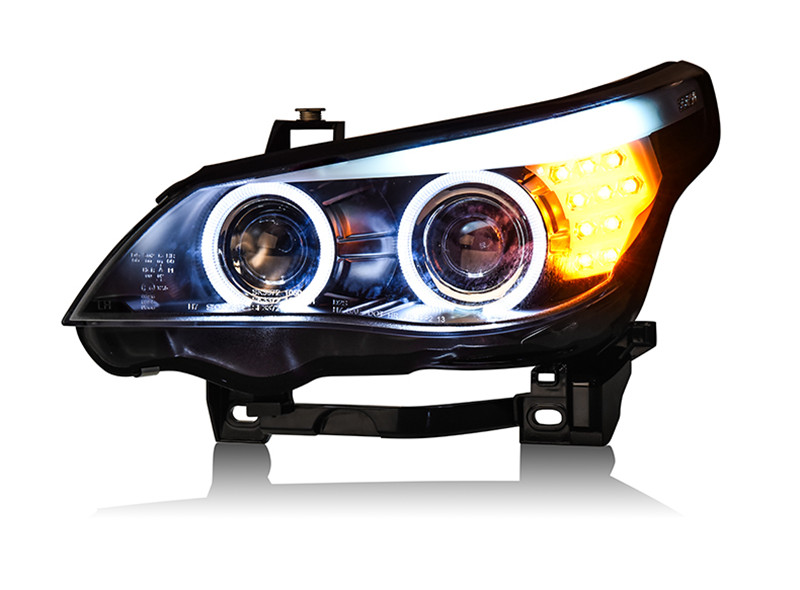 VLAND Factory car Head lamp for BMW 520 523 525 530 headlight E60 Head lamp 2004 2005 2006 LED Angel eyes H7 Xenon lamp free shipping vland factory headlamp for volkswagen gol led headlight h7 xenon lamp with angel eyes led bar lamp plug and play