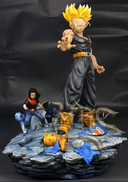 MODEL FANS Dragon Ball Z the same paragraph MRC 37cm future Trunks VS Android gk resin action figure toy for Collection model fans in stock dragon ball z mrc 30cm son gohan practice gk resin statue figure toy for collection