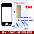 1 Unidades negro para iPhone4 / 4S táctil de reemplazo top Glass pantalla de la lente para el iPhone 4 G 4S repuesto + herramientas + adhesivo YL5144