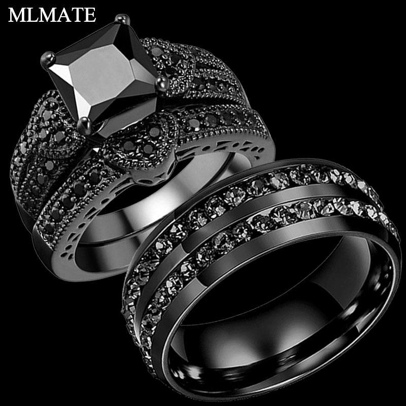 Black Stainless Steel Cz Wedding Ring