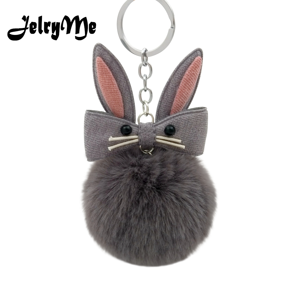 Original Fluffy Bunny Keychain Pompom Fake Rabbit Fur Ball Cute Doll Key Chains For Women Girl Bag Car Keyring Pompon Jewelry cute fox bobbles fur ball rhinestone keychain bag car ring keyring