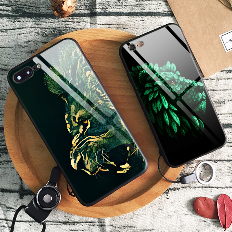 Galleria fotografica Lion Portrait Green leaf Abstract Tempered Glass Soft Silicone Phone Case Shell Cover For Apple iPhone 6 6s 7 8 Plus X XR XS MAX