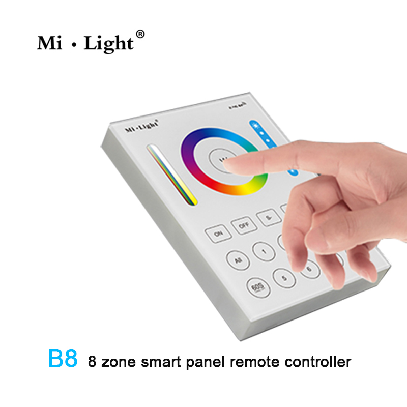 8 zonas Milight 2,4G RF controlador inalámbrico Led RGB + CCT Led Panel de control remoto Panel táctil B8 montado en la pared; Atenuador RF remoto FUT089 de 8 zonas; Controlador led inteligente LS2 5 en 1 para RGB + CCT, tira led Miboxer