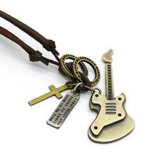 2017 Модный кулон гитара мужское кожаное ожерелье панк Ретро