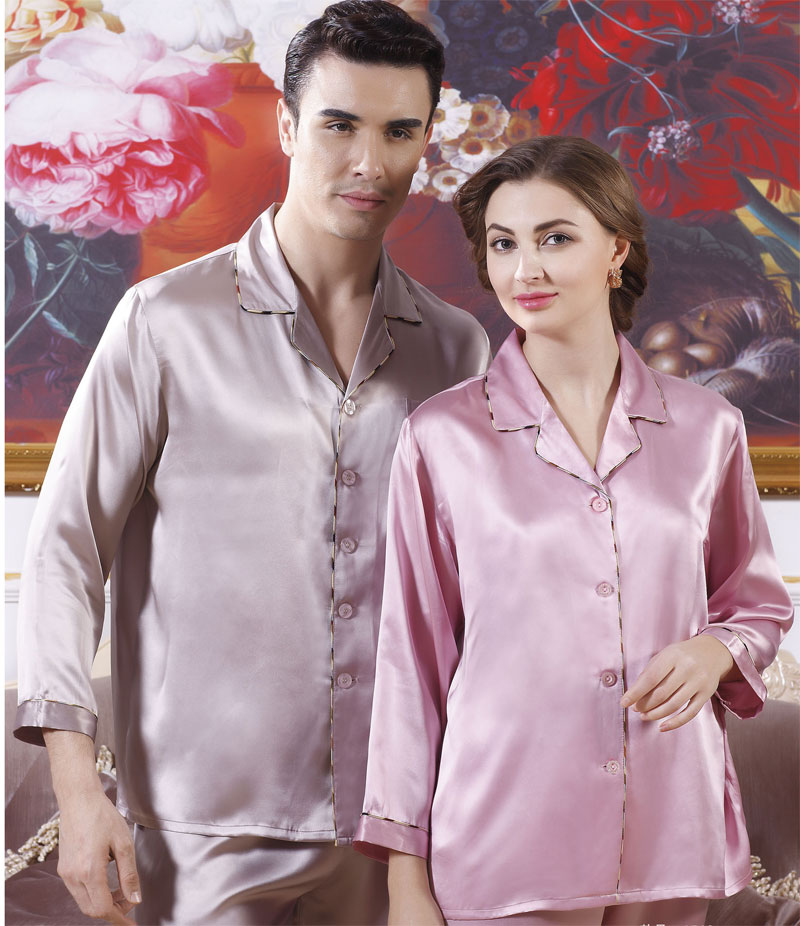 100% Pure Silk Couples Pajamas Top and Bottom Set For Men Size L XL XXL