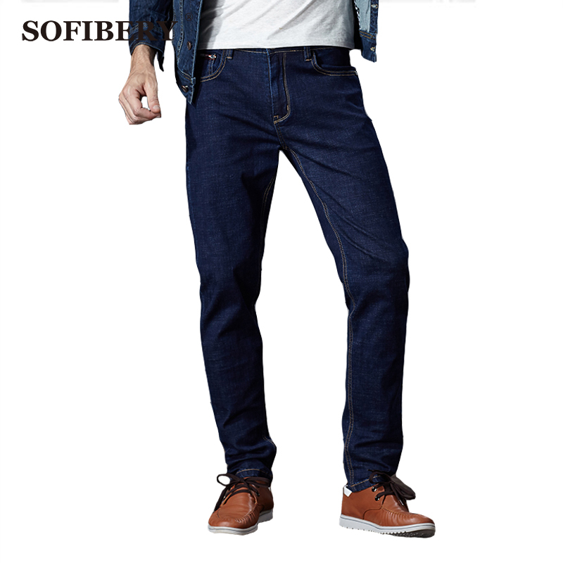 ФОТО SOFIBERY  Brand Men's Jeans High Stretch Four Seasons style High Stretch Denim Light Mark Black Blue Men Jeans Men size 28-48