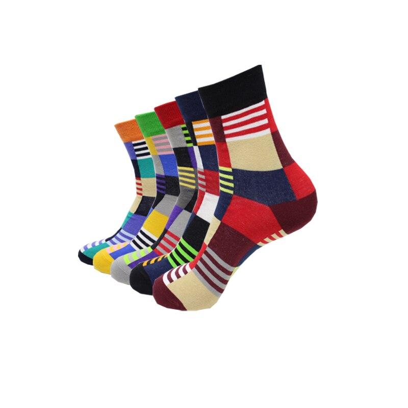 Hot Sale! Men's Socks Warm Autumn-winter Comfortable Breathable Cotton Socks Large Lattice Colorful Men And Male Art Socks