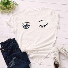GUMPRUN Women Kawaii Summer Cotton T Shirt Loose Short Sleeve Streetwear Casual Tops Tshirt Plus Size Eyelash Aesthetic
