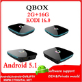Q-box s905x 5 unids android 5.1 TV Box Amlogic S905x qboxhd Quad Core 2G + 16G 2.0 WIFI 4 K H2.65 bluetooth 4.0 gigabit lan qbox s905