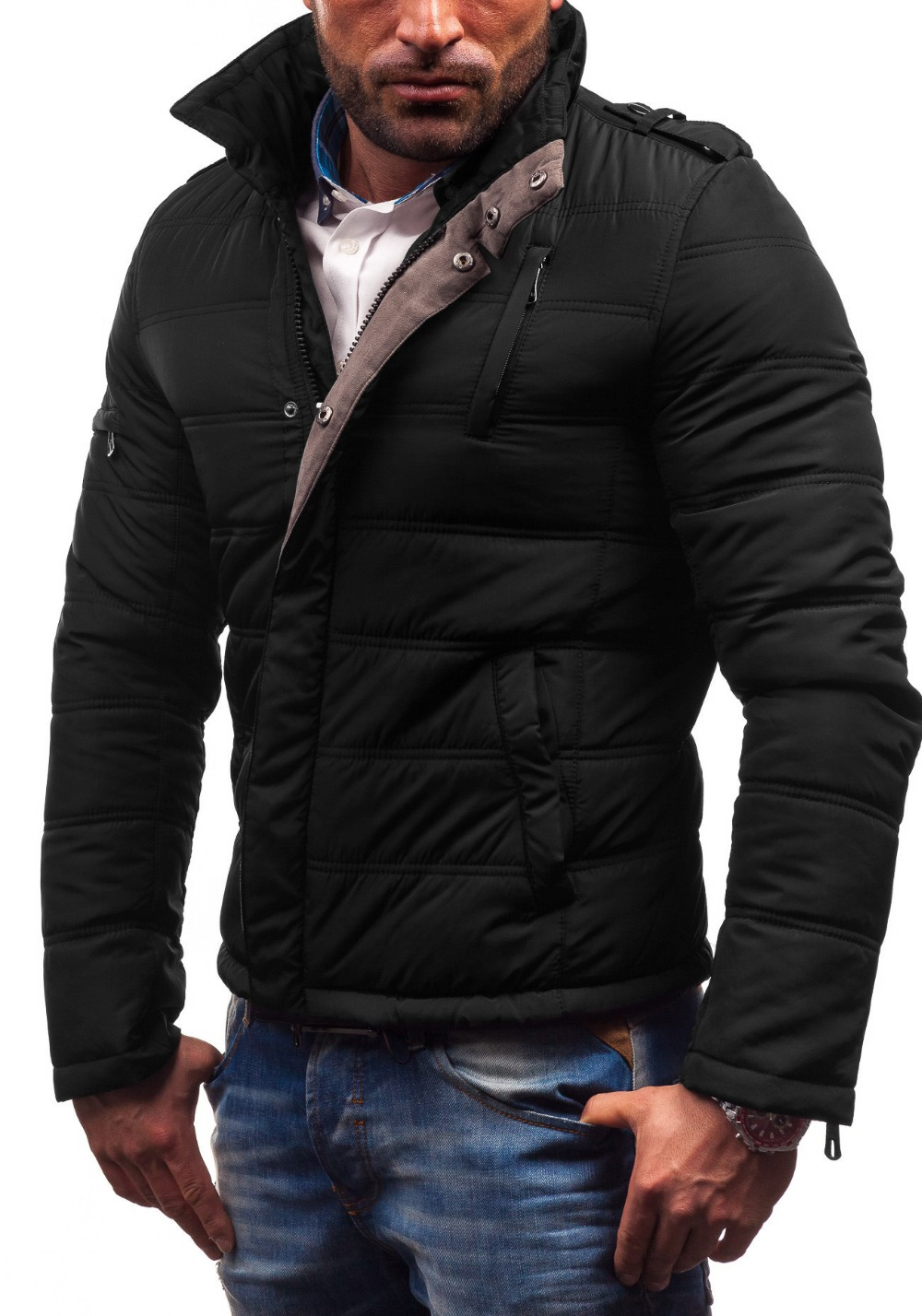 Wholesale Euro 2016 plus size M-5XL men parkas winter fashion thicken warm Epaulette stand collar zippers button men coat T55