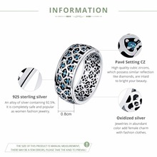 100% 925 Sterling Silver Petals of Love Sweet Clover Blue CZ Finger Rings for Women Engagement Jewelry