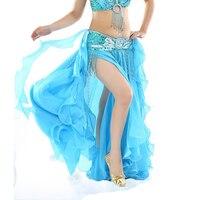 New Belly Dance Skirt 2 Layers With Slit Skirt Dress Split Curl Edge Ear Skirt Colour