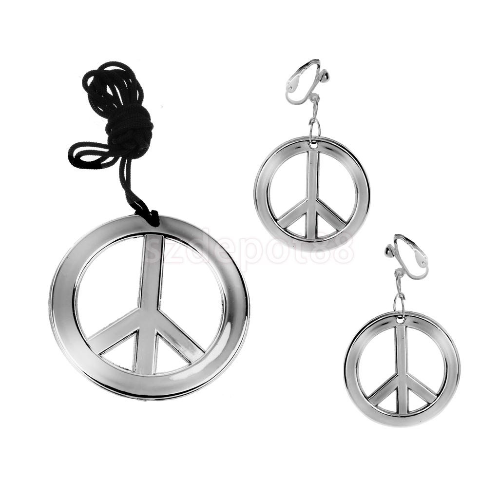 Vintage Jewelry Set Peace Signs Earrings Necklace Jewelry Accessories