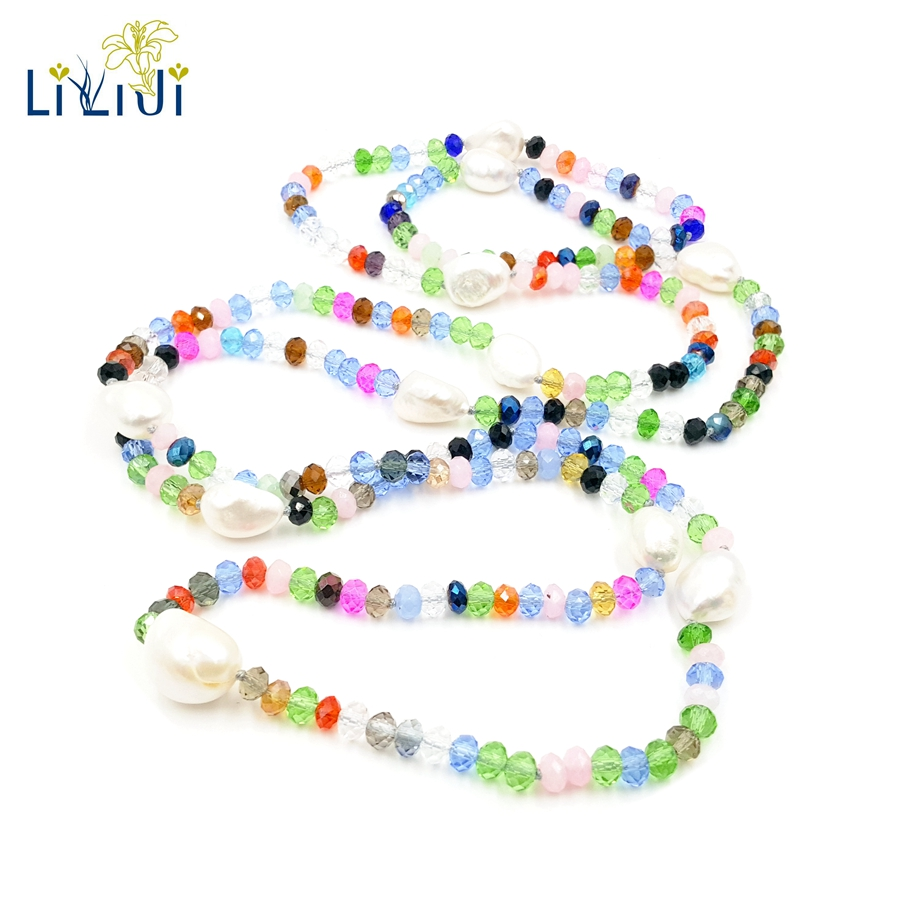 Lii Ji Colorful Real Freshwater Pearl Crystal Elegant Long Necklace Nice Gift For Women