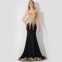 Exquisite Crystal Embroidery Lace Mermaid Prom Dresses 2015 Sexy See Through Top Black Evening Dresses Real Photos Custom Made