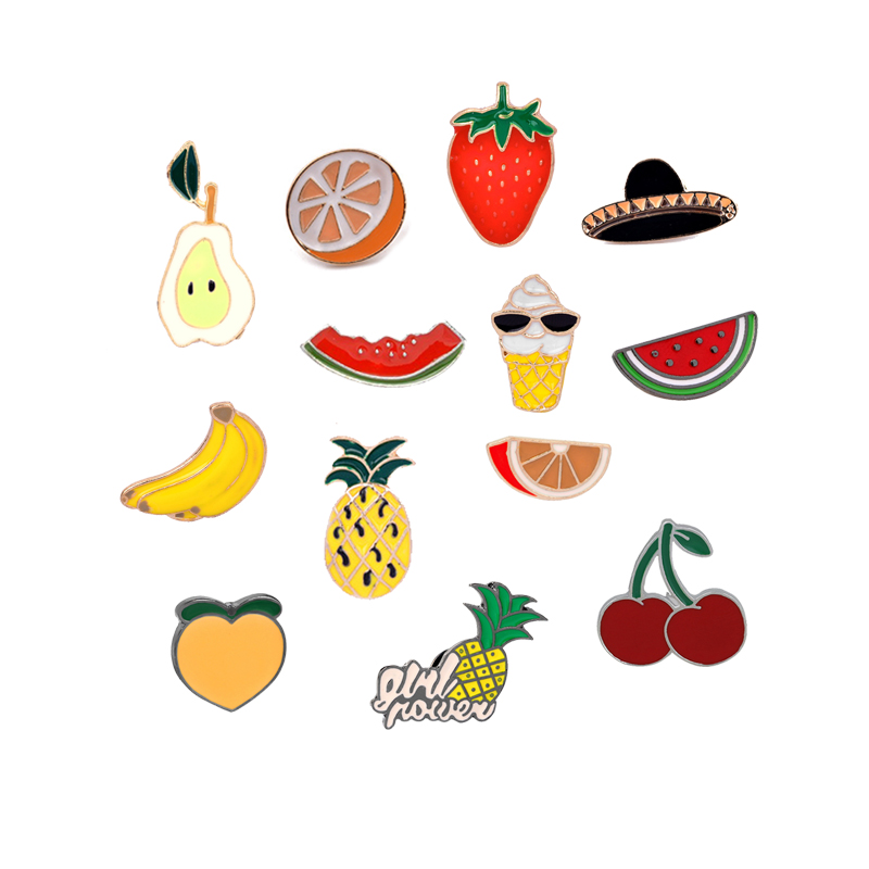 Cartoon Fruits Brooch Cherry Pineapple Orange Watermelon Enamel Pins Women Hat Jackets Badge Pin Fashion Jewelry for Kids Gifts image