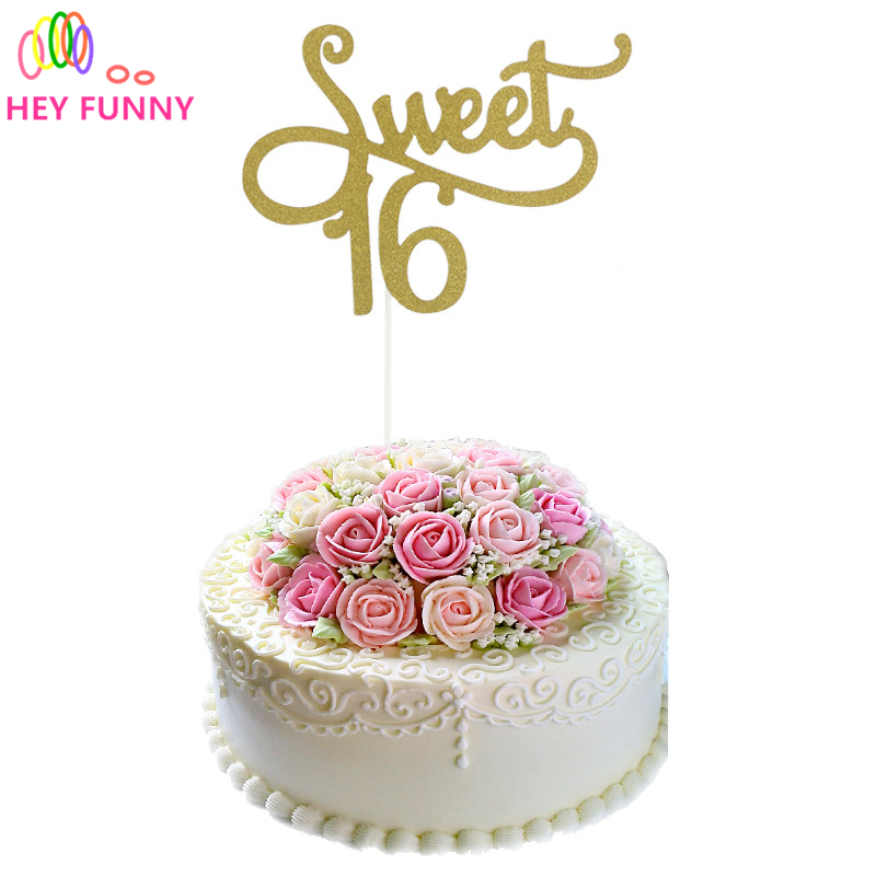 GoldSilverBlack Glitter Sweet 16 Cake Topper Girls Sixteenth