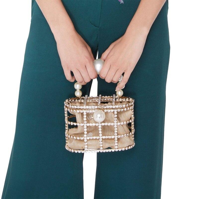 HOT Luxury Lady Handbag Diamond Decorative Basket Bag Rhinestone Birdcage Crystal Bag Female Pearl Bag for Party wedding Bags