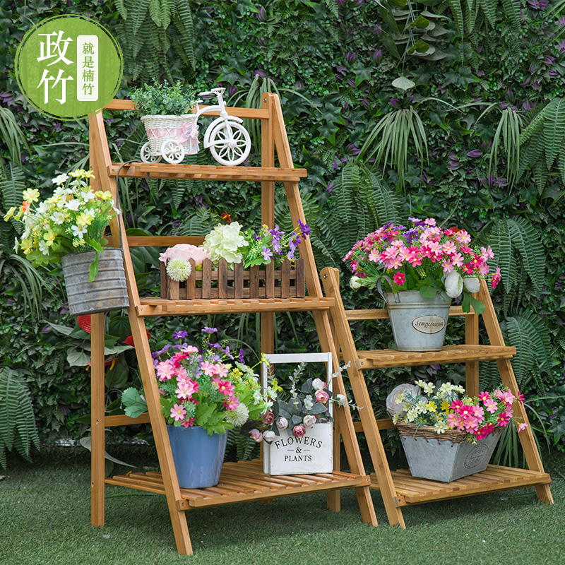 Outdoor Garden Flower Bamboo Bamboo Folding Multi Layer Solid Wood Shelves  Shelf Storage Rack Ladder Balcony In Plaques U0026 Signs From Home U0026 Garden On  ...