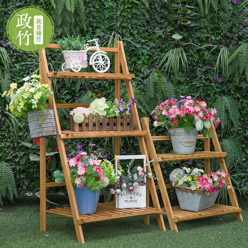 Outdoor Garden Flower Bamboo Bamboo Folding Multi Layer Solid Wood Shelves  Shelf Storage Rack Ladder ...