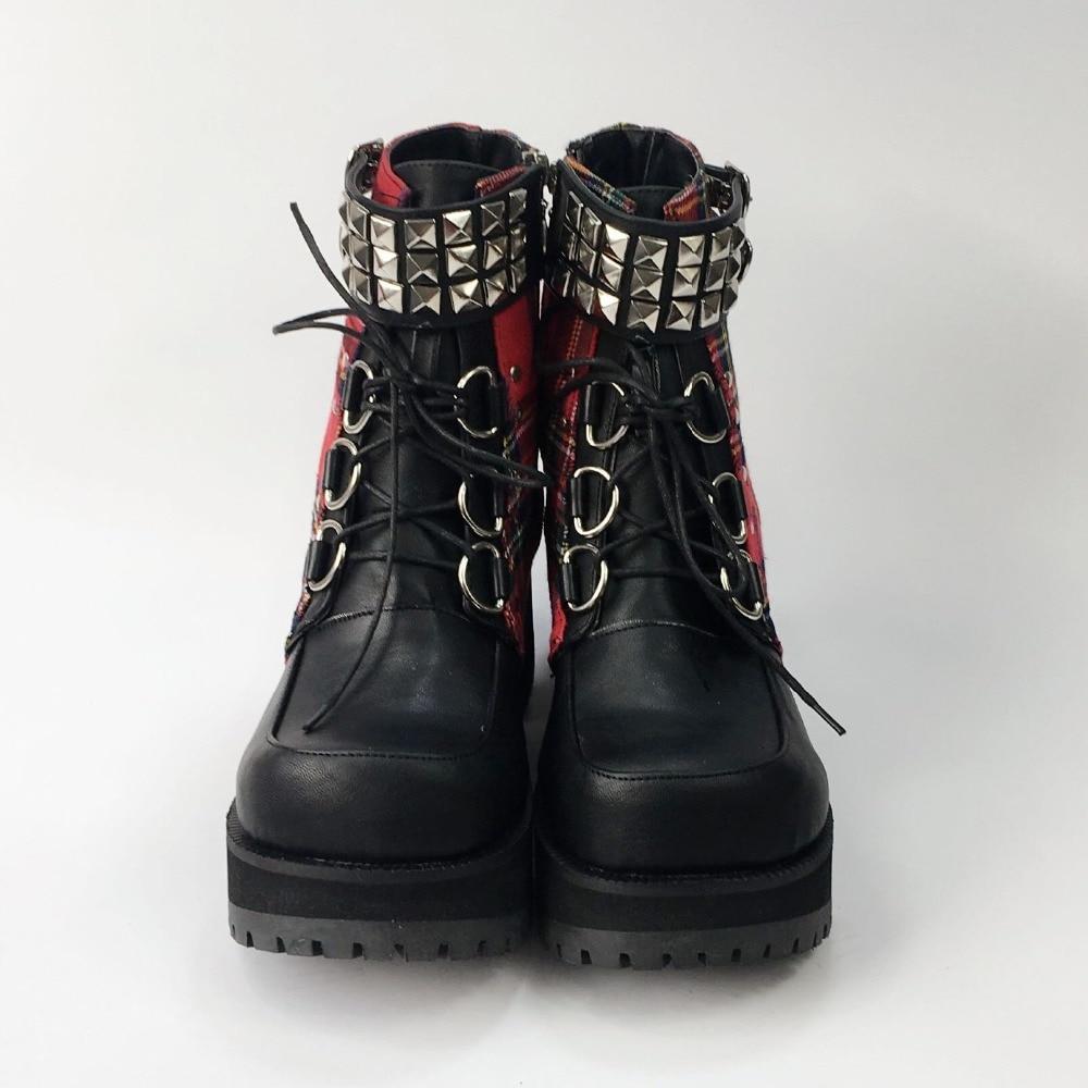 76493f72380 Classic Black Red Plaids Rivet Gothic Punk Rock Lace up Lolita Ankle ...