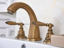 Bathroom Basin Faucet Antique Brass Bathroom Basin Mixer Tap Sink Faucet Double Handles 3 Hole Bathroom Basin Faucet Nan069 wholesale and retail antique brass bathroom mixer taps two handles one hole faucet