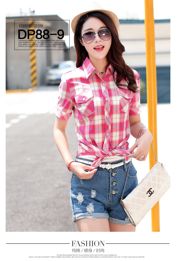 HTB1LIfCHFXXXXcfXVXXq6xXFXXXB - New 2017 Summer Style Plaid Print Short Sleeve Shirts Women