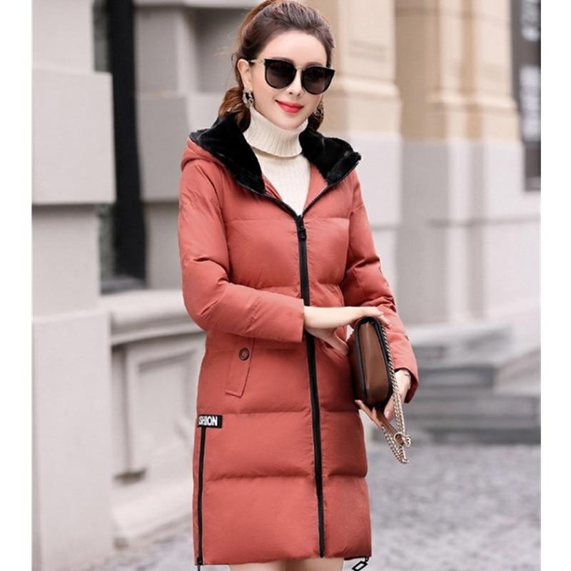 Colour Couleur 2018 black Coton Vêtements Solide Femmes Long caramel Épaissir A446 Capuche armygreen Femelle D'hiver De Red brick Veste Mince Rembourré Mode Sauvage Red Moyen Y4qYSrw