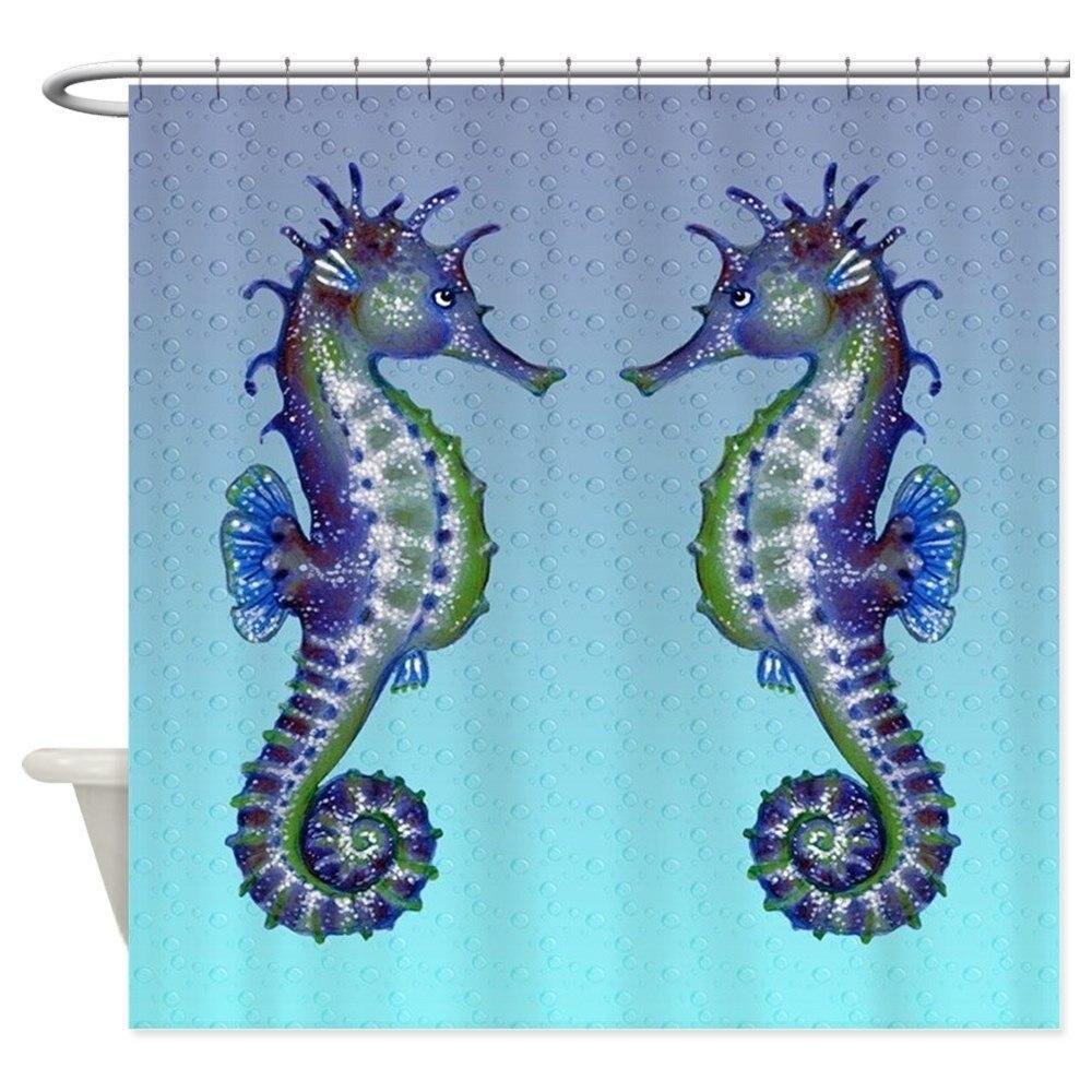 Seahorse Kiss Shower Curtain Decorative Fabric Shower Curtain