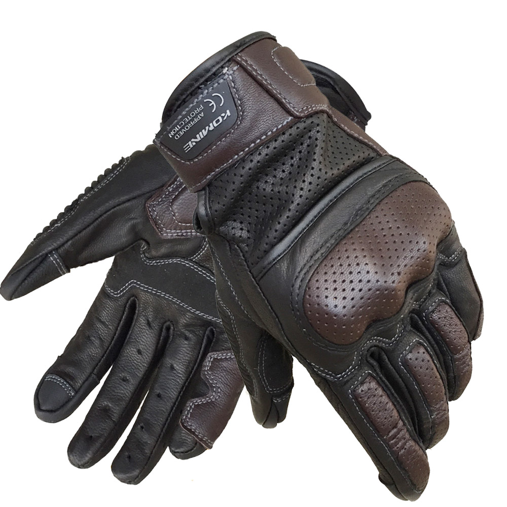 KOMINE Men Vintage Leather Motorcycle Touch Screen Gloves Full Finger Breathable Outdoor Motorbike Gloves Motocross Guantes