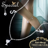 Specjalne Marki Mody 925 Srebro Obrączki Akcesoria S1603A AAA Zirconia Bransoletki Kostki Stóp Biżuteria Prezenty dla Kobiet