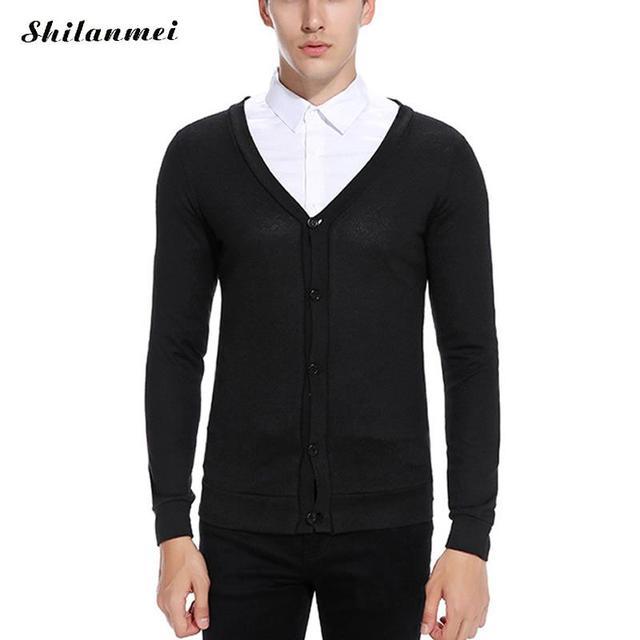 Zwarte Heren Trui.Herfst Winter Zwart Modemerk Mannen Trui Gebreide V Hals Oranje Rood