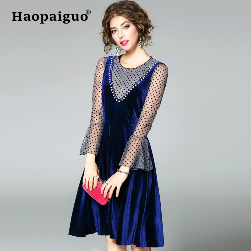 2 Piece Set Women 2019 Spring Summer Dot Flare Sleeve Sexy Blouse and Elegant Tank Velvet Dress Women with Rivet Two Piece Set