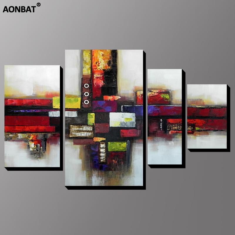 AONBAT ART 100% Hand-Painted Oil Painting Canvas Framed dark Abstract multi colors Wall art 4 pcs Set Home Decor ready to hang