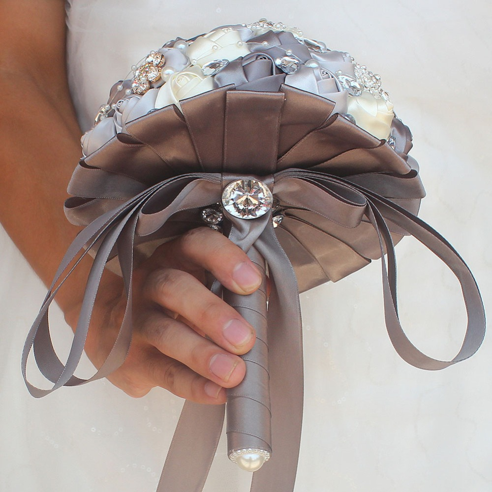 (Wrist flower and boutonniere)  Silver gray ivory Rhinestone Bouquet Diamond Brooch Holding Flowers Wedding Bridal Bouquet Set