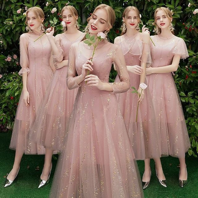 Beauty Emily A line Lace Red Bridesmaid Dresses 2019 Long for Women Wedding Party Prom Women Dresses