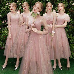 Image 1 - Beauty Emily robe de demoiselle dhonneur, ligne A, en dentelle, rouge, longues, robes de bal de mariage pour femmes, 2019