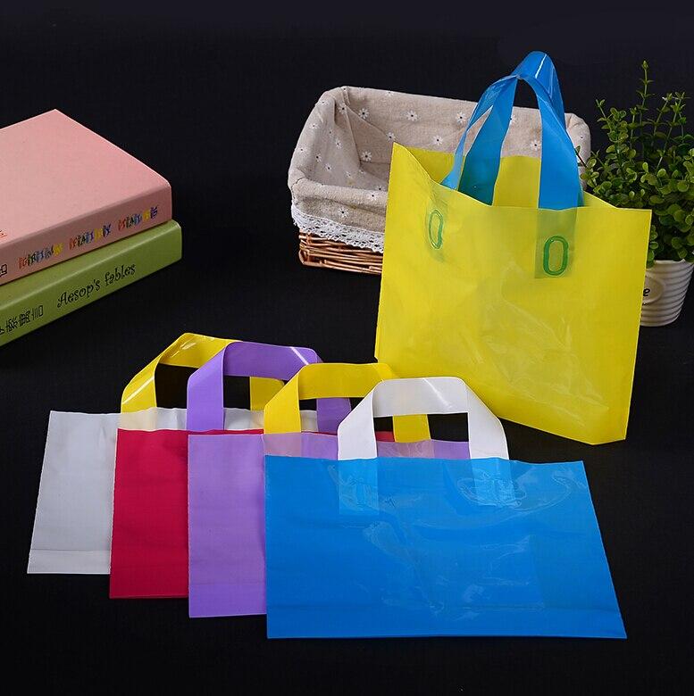 4 sizes custom gift packaging bag plastic shopping bags for Custom plastic t shirt bags