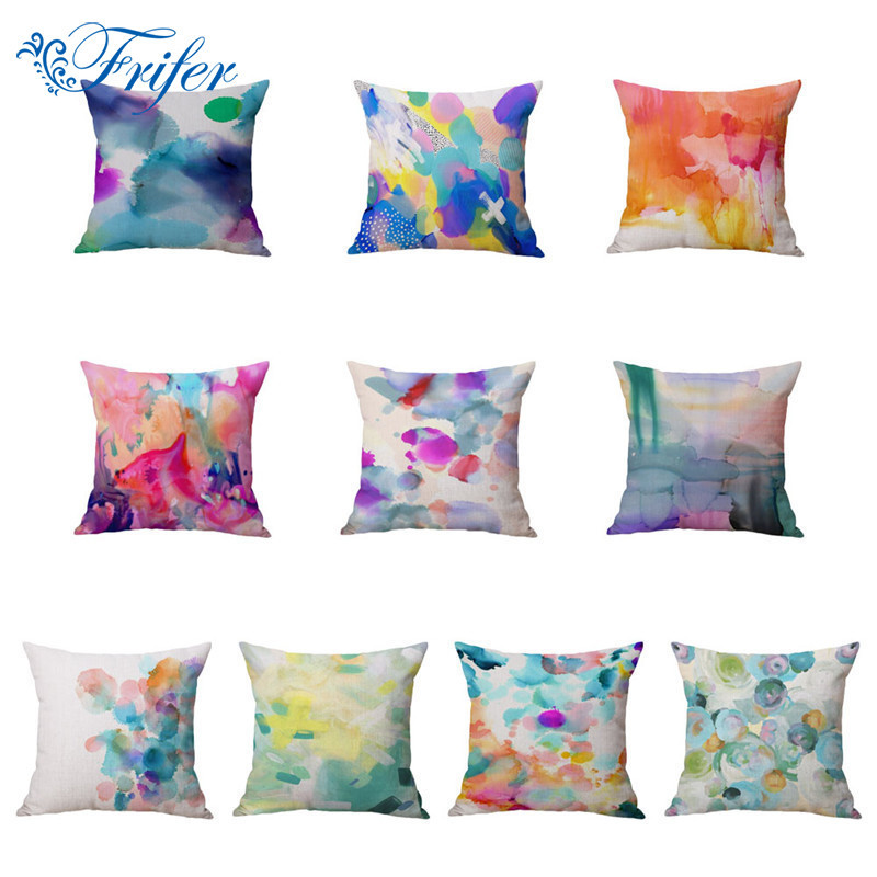 Watercolour Partern Cushion Covers Vintage Pillow Cases Cotton Linen Pillowcase Chair Seat Throw Cover Home Sofa Decoration