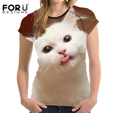 FORUDESIGNS 3D Cute Cat Printing T-shirt Women Tops Tees Womens Funny t-shirt Casual TShirt O-Neck Ladies T Shirts Feminism Plus