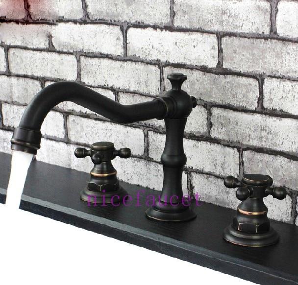 ФОТО Oil Rubbed Bronze Widespread Bathroom Sink Basin Faucet Mixer Tap Double Handle