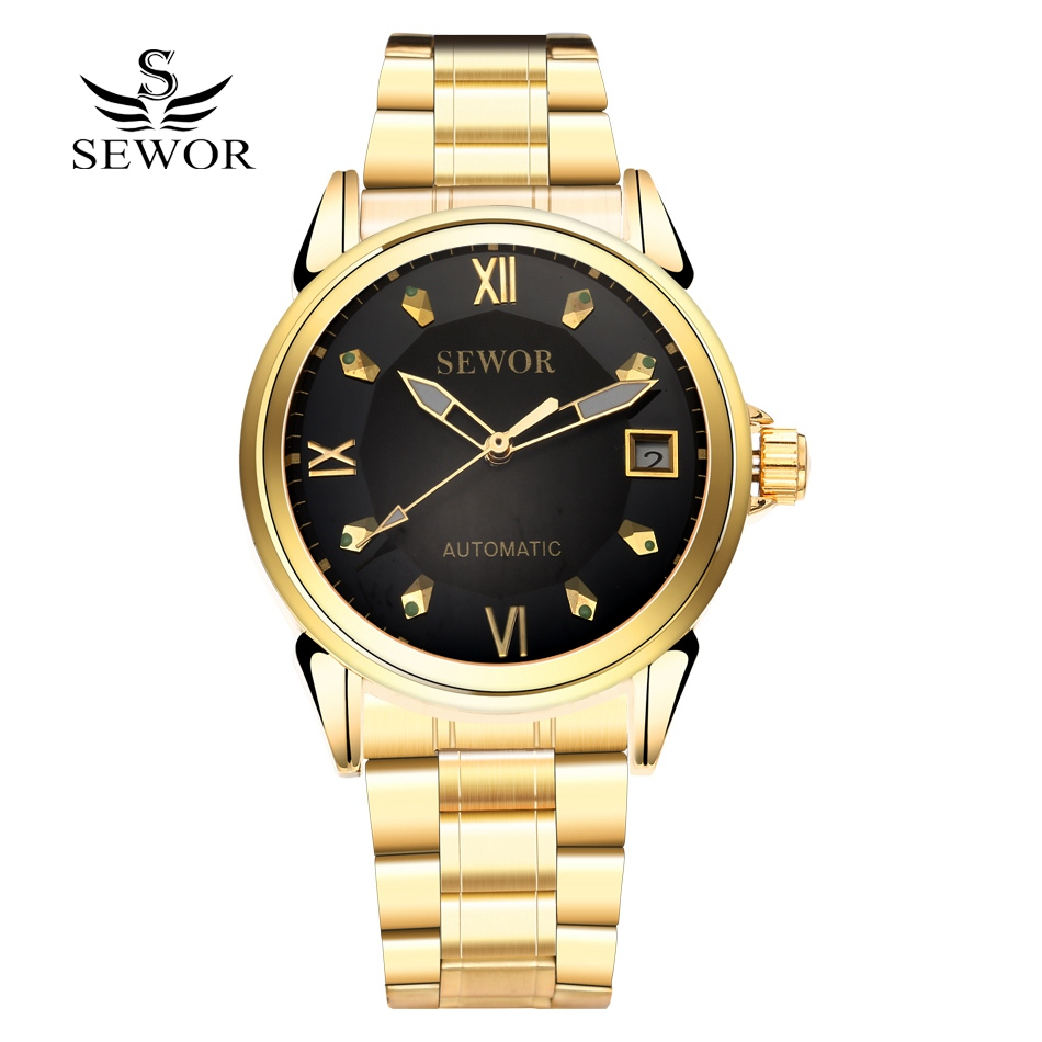Fashion SEWOR Men Luxury Brand Roman Stainless Steel Business Watch Automatic Mechanical Wristwatches Gift Box Relogio