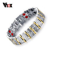Vnox 100 Titanium Bracelets Bangles Men Jewelry Casual Health Power Magnetic Bracelet Gold Plated
