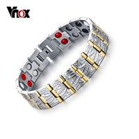 Vnox 100 Titanium Bracelets Bangles Men Jewelry Casual Health Power Magnetic Bracelet Gold Plated